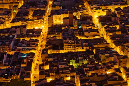 tightened: View from above to tightened streets of Cullera, Spain
