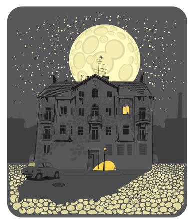 illustration of the city at night on the background of the Moon Vector