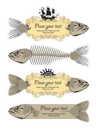 skeleton fish: banner with fish  Illustration
