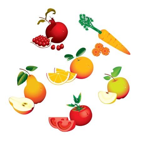 pomegranate: set of fruits vegetables