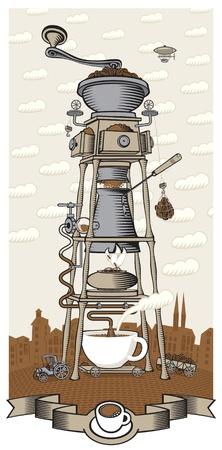 café de la casa en la ciudad Ilustración de vector