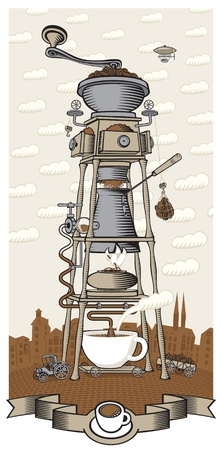 with coffee maker: coffee house in the city  Illustration