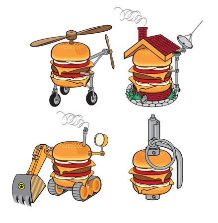 grenade: set of burgers in the form of helicopters, excavators, building and grenades