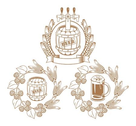 ječmen: sud piva, sklo Ilustrace