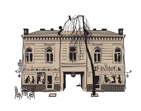 english village: old town  Illustration