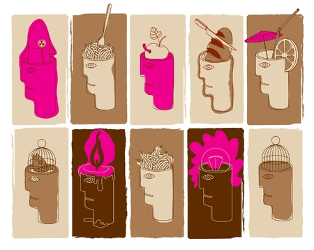 mentally: human heads