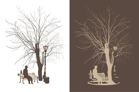 banc de parc: l'homme sous un arbre