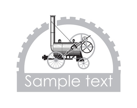 boiler: old paravoz in the gear wheel Illustration