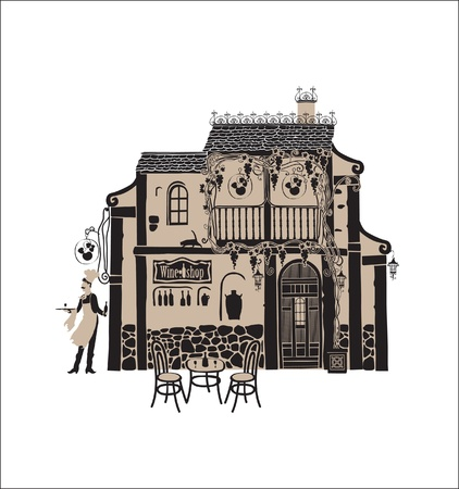 Wine House in waiter and a table Vector