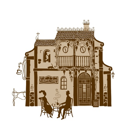 Old coffee house with a couple in love Vector