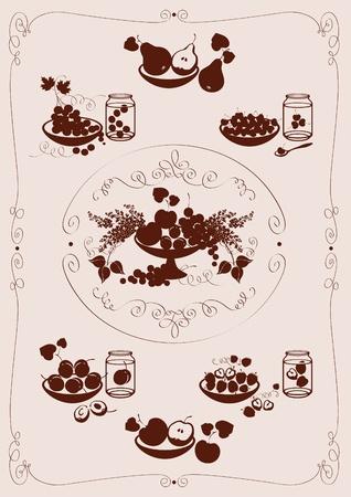 vine pear: set fruit and berries