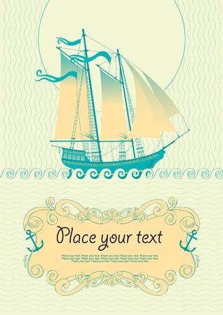 background with a sailboat  Vector