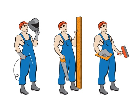 construction worker cartoon: set builders