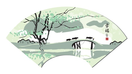 chinese fan: Chinese fan with landscape Illustration