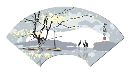 heron: Chinese fan in the landscape, river and herons