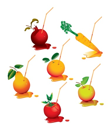 juices in the form of fruit with a straw Vector