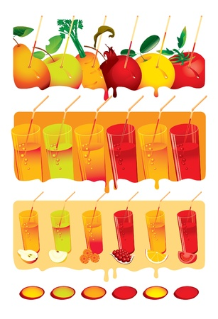 set with glasses of juice and fruits and vegetables Vector