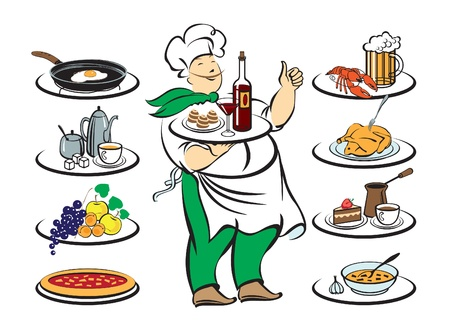 food tray: chef kitchens with different versions Illustration