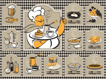 pasta: set for the menu with the chef Illustration