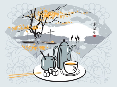 green tea with a Chinese fan with landscape Vector