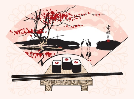 sushi with a Chinese fan with landscape Vector