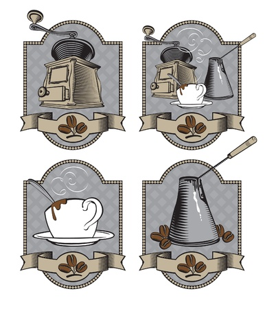 set of labels for coffee Vector