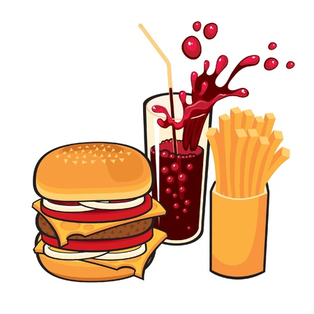tomato juice: fast food  Illustration