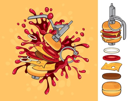 cheeseburger flavor grenade  Vector