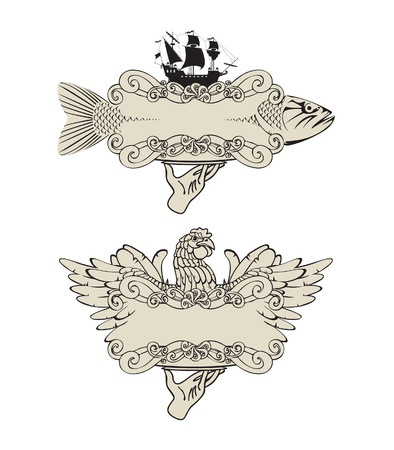 Labels for meat fish and poultry Vector