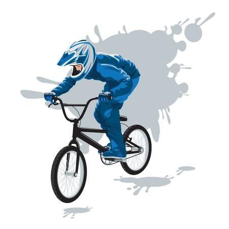 cyclist in flight  Illustration
