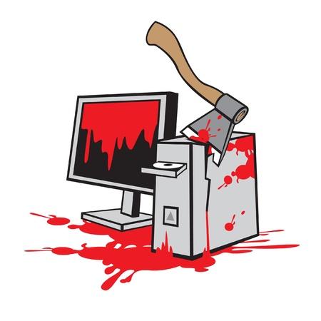 disk break: dead computer  Illustration