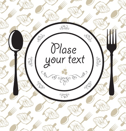 fork spoon plate napkin  Vector