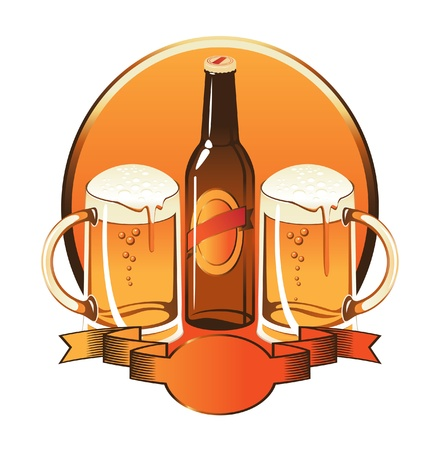 bottle of beer two glasses  Vector