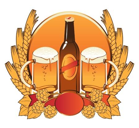 levadura: dos vasos de cerveza, malta, alimentos, espigas de trigo