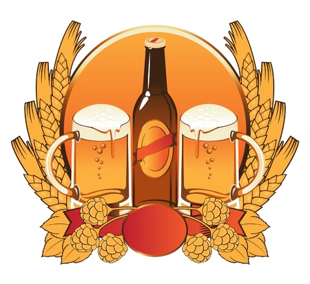 two glasses of beer, malt, feed, wheat ears  Stock Vector - 11650891