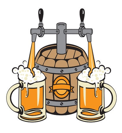 of a barrel of beer filled two glasses