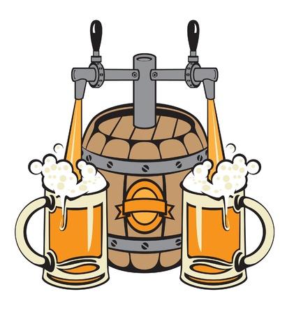 van een vat bier vulde twee glazen Vector Illustratie