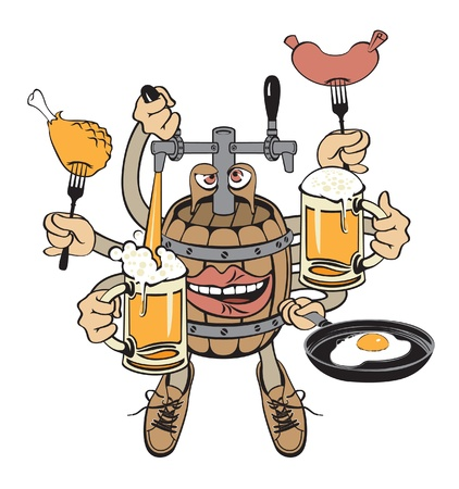 beer monster. Barrel with your hands  Vector