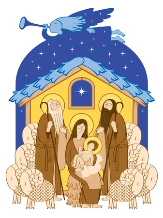 shepherds: Adoration of the Magi. Mary and Jesus