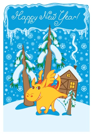dragon in winter landscape  Vector