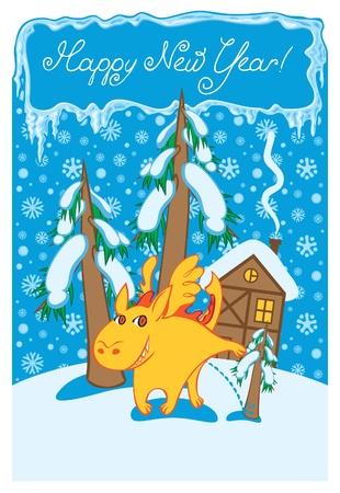 dragon in winter landscape Stock Vector - 11650894