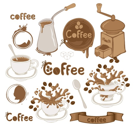 set on the coffee theme  Vector