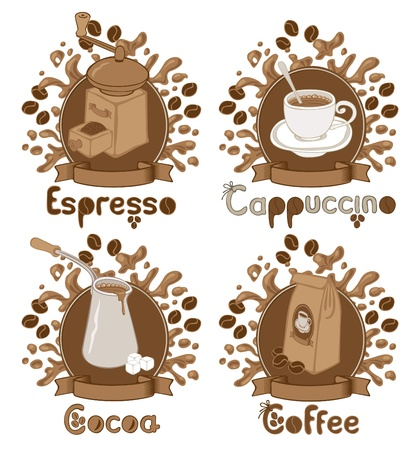 four items on the coffee theme  Vector