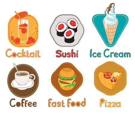 six images with different types of food  Vector