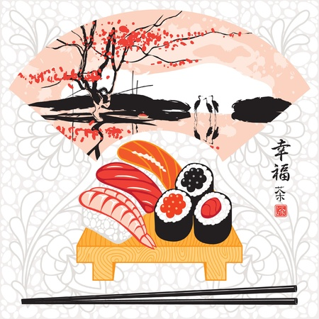 patterns japan: sushi herons