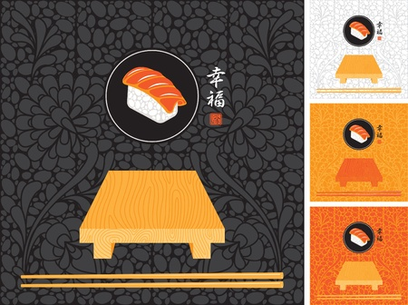 set to backdrops of Japanese cuisine  Vector