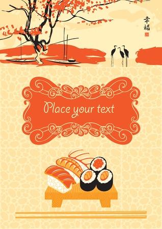 sushi: menu voor sushi met een meer en reigers