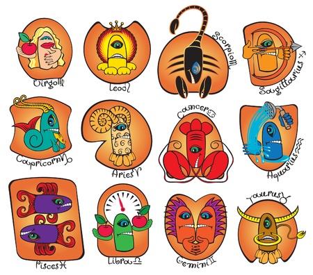 jungfrau: Horoskop Monster Illustration