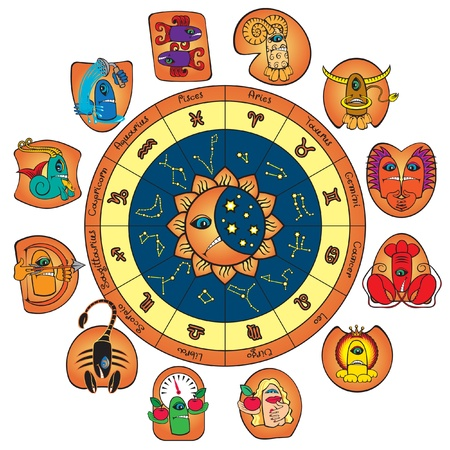 circle of the zodiac and the signs  Vector