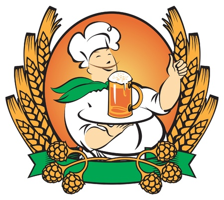 waiter with a glass of beer on a tray in the ears of wheat and malt  Vector